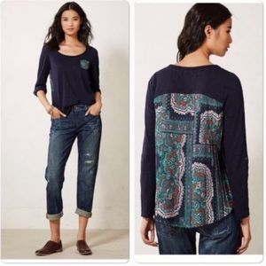 Anthro Paper Locket Navy Pleated Paisley Back M